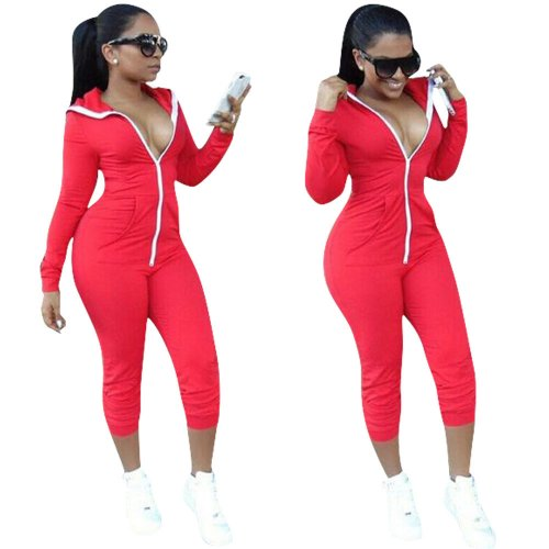 Red Zip Up Hoodie Sports Jumpsuits LM9041