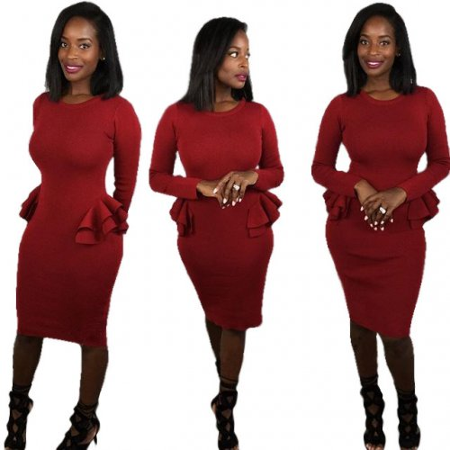 Long Sleeves Red Pencil Bodycon Midi Dress L0161