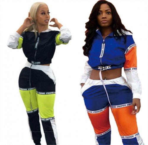 Hot Sale Ladies Color Block Sport 2 Pieces Outfits LA3068