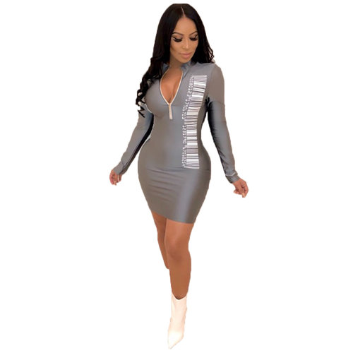 Sexy Zip Up Long Sleeves Skinny Mini Dress MDO8038