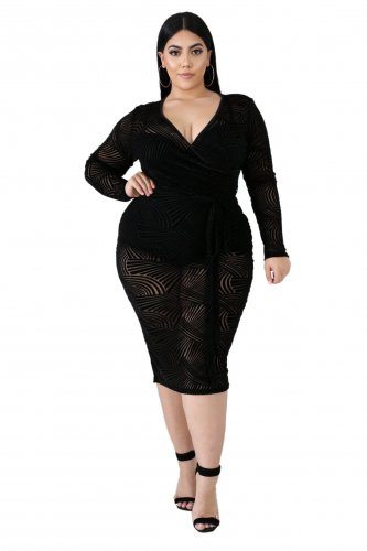 Off Shoulder Black Mesh See Through Midi Dress QZ6068