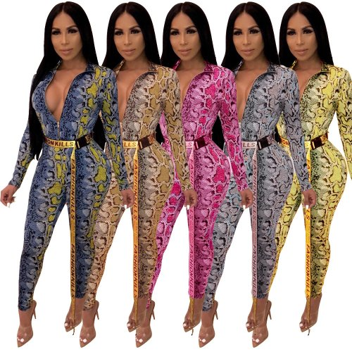 Hot Zip Up Snake Print Bodycon Jumpsuit (Without Belt) A8332