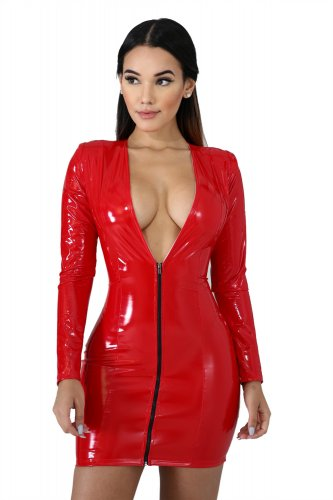 Zipper V Neck Long Sleeve Pu Leather Mini Club Dress QZ3258