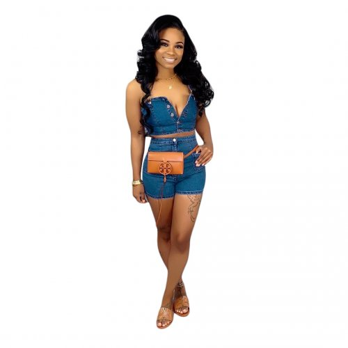 Fashion Strappy Crop Tops Shorts Jeans Demin Sets SN3536