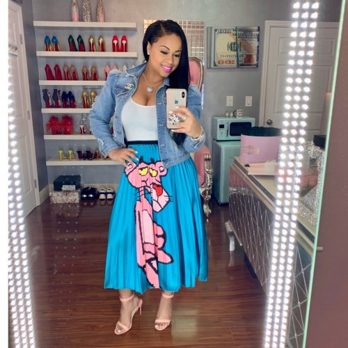 Hot Sale Carton Print Blue Long Skirts TRS928