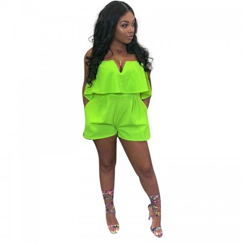 Solid Strapless Ruffle Casual Romper Shorts H1127