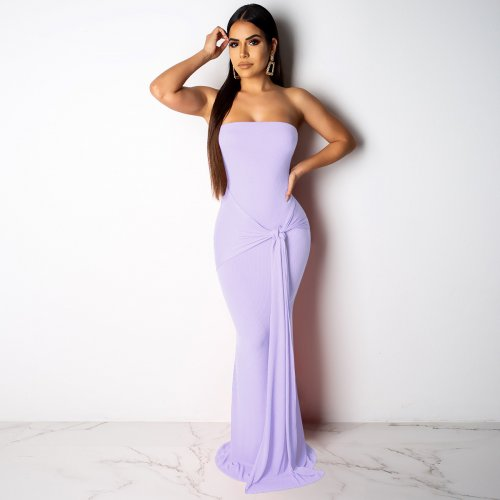 Wholesale Pure Color Ribber Strapless Maxi Dress ALS084