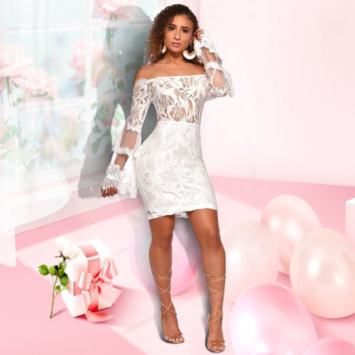 Sexy Lace Black/White Dew Shoulder Club Dress JLX3075