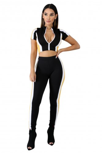 Two Pieces Set Crop Ziper Tops Striped Side Pants Outfits JLX3080