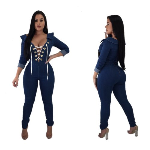 Sexy Bandage Slim Bodycon Zip Up Denim Jumsuit JLX8698