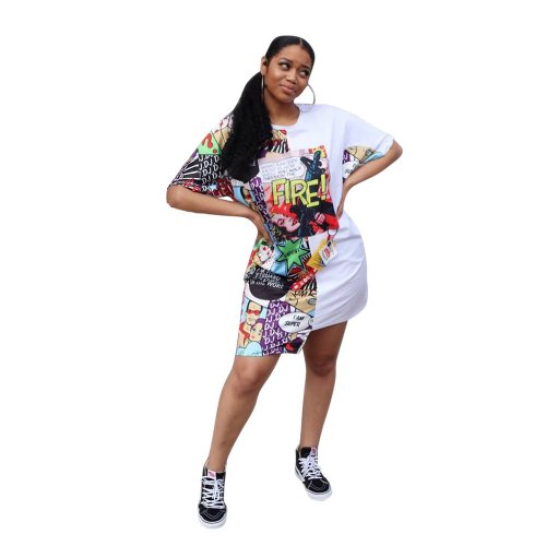 White Hot Sale Cartoon Print Midi T Shirt Dress CM553