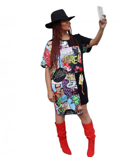 Black Hot Sale Cartoon Print Midi T Shirt Dress CM553