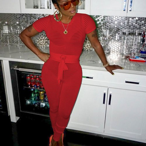 Red Transparent Short Sleeves Knitting Skinny Jumpsuits SN3528