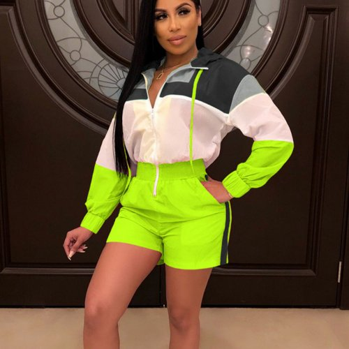 Green Zipper Color Block Long Sleeves Women Romper Shorts SN3535