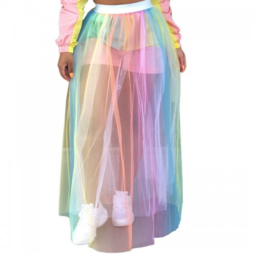Colorful Transparent Mesh Long Skirts GL6120