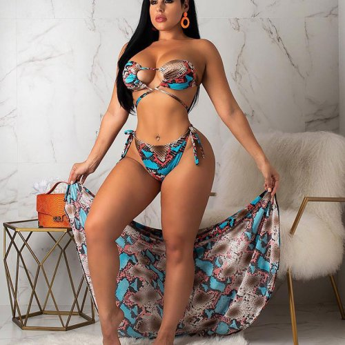 Orange Snake Print Sexy 3pieces  Bikini Sets With Cover Ups R6165