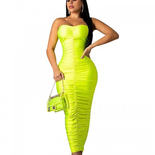 Green Pure Color Strapless Evening Party Long Dress CY1123