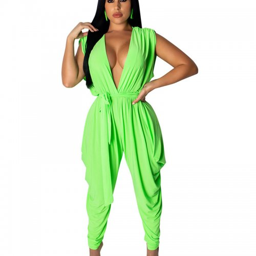 Green Sleeveless Deep V Neck Wide Leg Jumpsuits TRS908