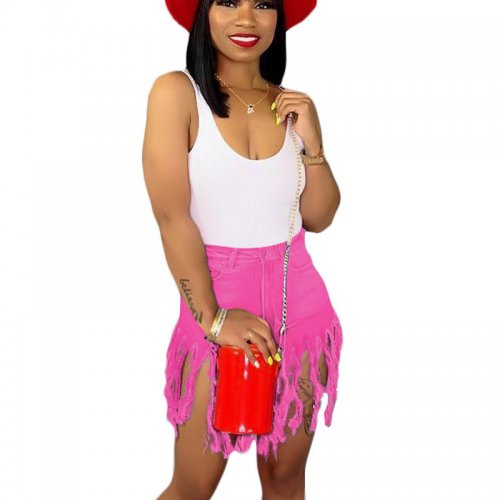 Rose Red  Hot Sale Tassel Women Jean Shorts For Daily Wear SN3553