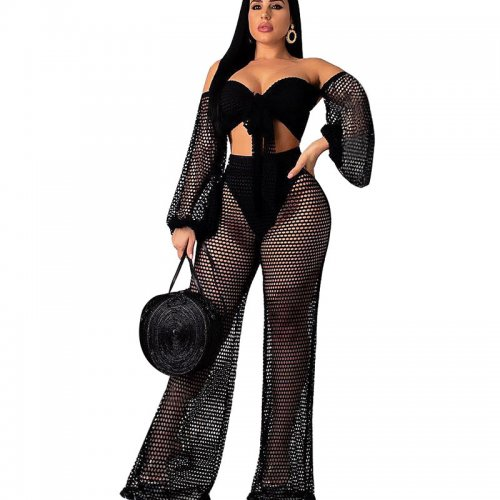 Black See Through Sexy Suits Strapless Top Wide Leg Pants SN3509