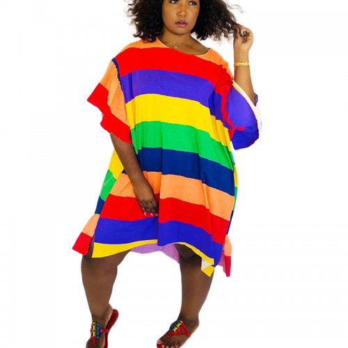 Oversize Colorful Striped T Shirts Dress ARM8073