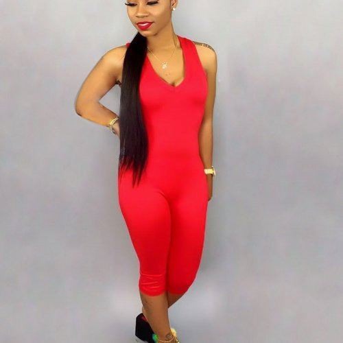Red Solid Tank Tops Bodycon Jumpsuits SN3555