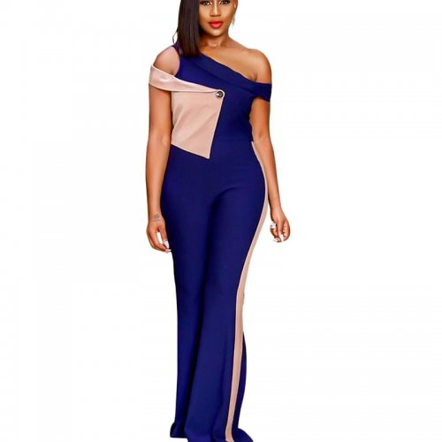 Color Block Wide Leg Jumpsuits Casual Wear SN3541
