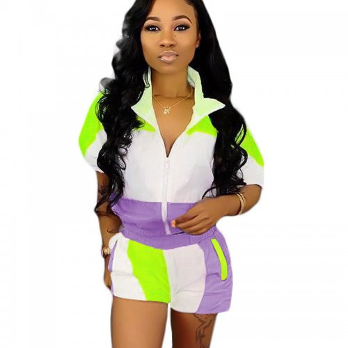 Purple Casual Color Block Two Pieces Outfits SN3534