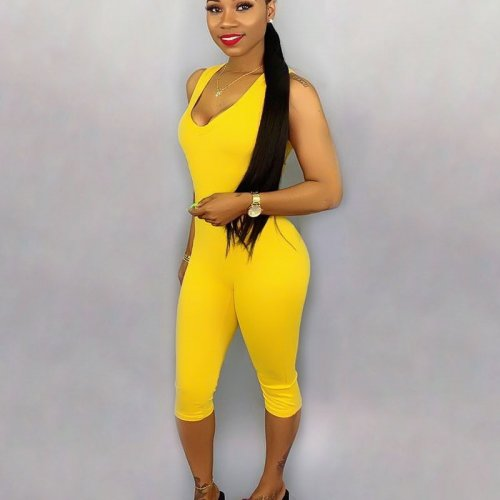 Yellow Solid Tank Tops Bodycon Jumpsuits SN3555