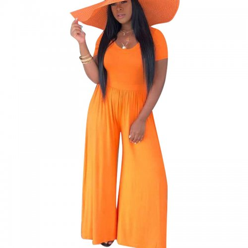 Pure Color Orange Oversize Wide Leg Casual Jumpsuits D8272