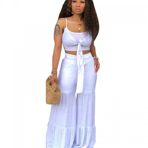White Solid Tank Crop Tops Wide Leg Casual Pants Sets CM571