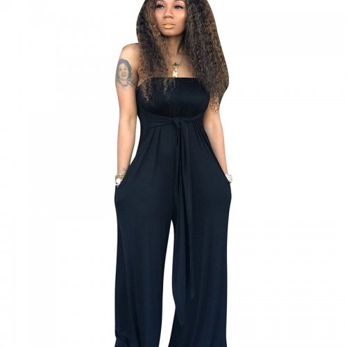 Blue Strapless Wide Leg Pants Oversize Jumpsuits CM573