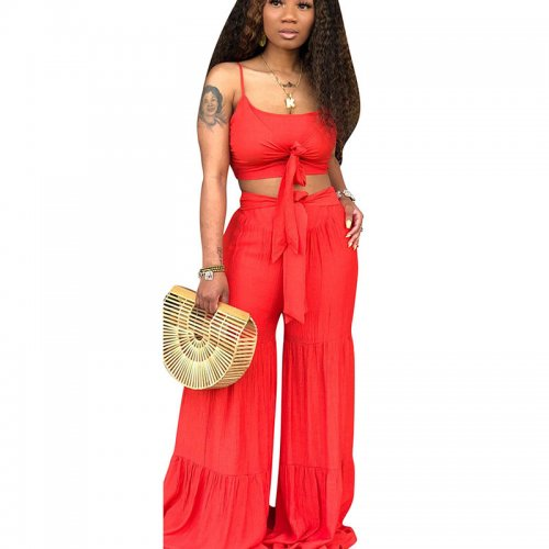 Red Solid Tank Crop Tops Wide Leg Casual Pants Sets CM571