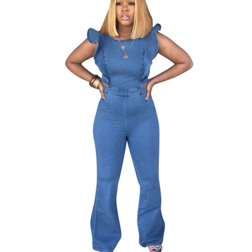 Blue Sleeveless Ruffle Tops Flare Pants Jeans Jumpsuits H1138