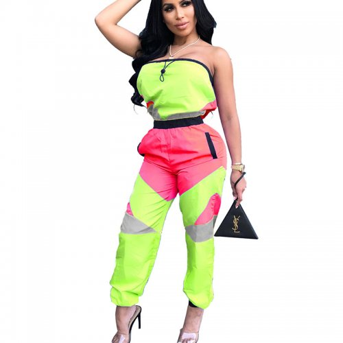 Light Green Strapless Color Block Casual Jumpsuits LA3100