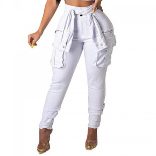 White Casual Street Wear Solid Pencil Jeans Q255
