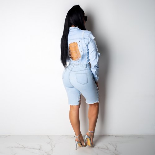 Light Blue Fashion Casual Slit Ripped Short Demin Jackets Q238