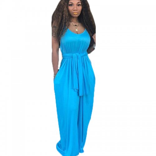 Light Blue Strapy Solid Long Maxi Loose Style Dress TRS949