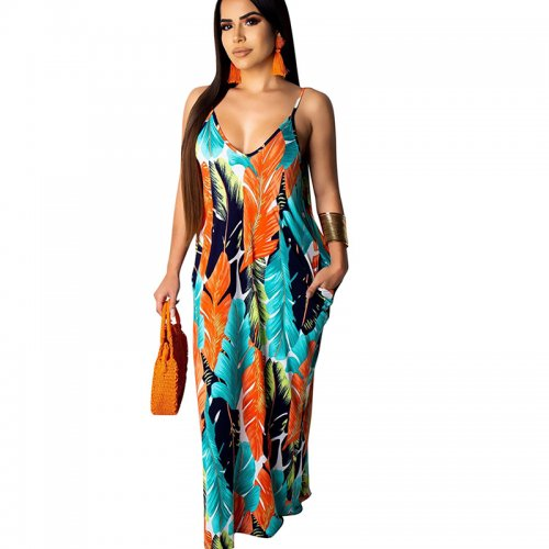 Blue Print Strappy Loose Long Maxi Summer Dress TRS907