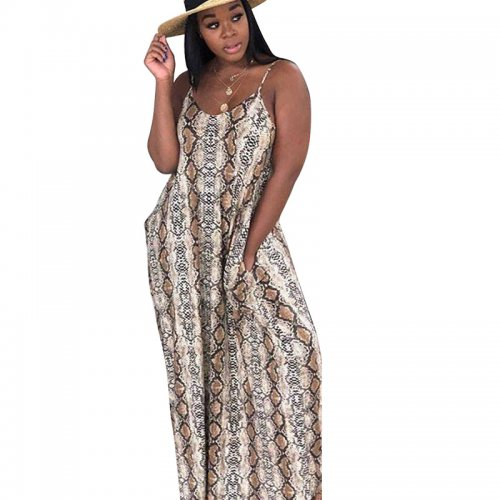 Snake Print Strappy Loose Long Maxi Summer Dress TRS907