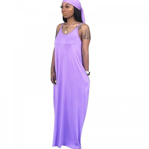 Purple Strapy Solid Long Maxi Loose Style Dress TRS949