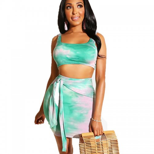 Green Tank Tops Mini Skirts Two Pieces Sets MDO9051