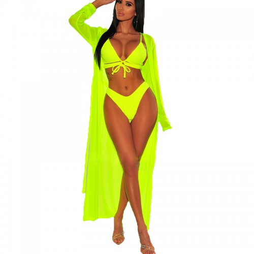 Green Solid Sexy Bikini Sets With Long Cover Ups MDO9052