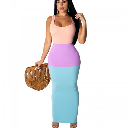 Light Blue Sexy Strappy Color Block Bodycon Long Dress ALS115