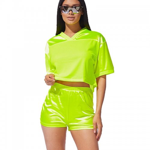 Fluorescence Green Mesh Two Pieces Shorts Sets MDO9050