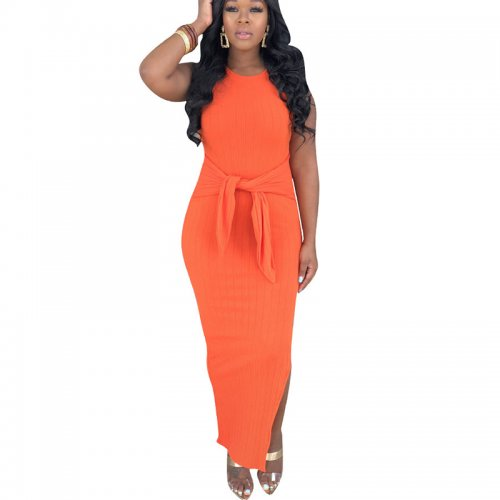 Orange Summer Solid Sleeveless Sexy Long Dress H1160