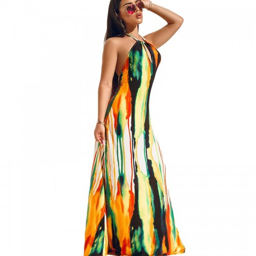 Halter Neck Colorful Print Backless Beach Summer Maxi Dress H1165