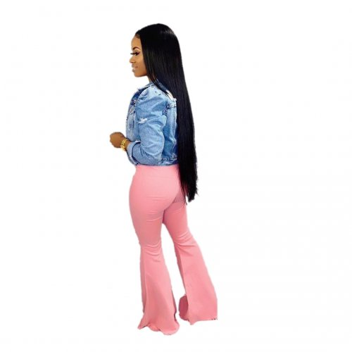 Fashion Casual Pink Flare Jeans Pants LA3109