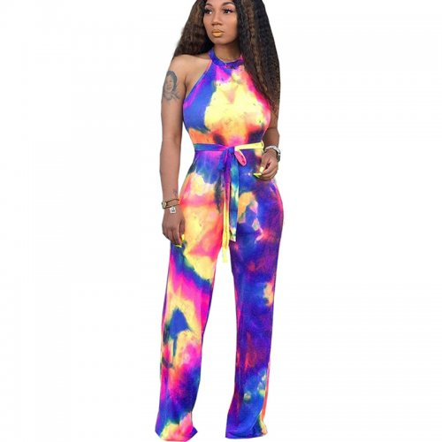 Print Sleeveless Wide Leg Casual Jumpsuits YT3138