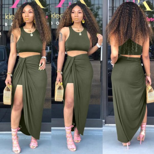 Green Tank Crop Tops Long Skirts Two Pieces Sets YT3152